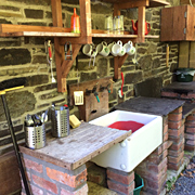 Campers' outdoors kitchen